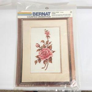 Bernat Counted Cross Stitch Peach Rose Kit H04082
